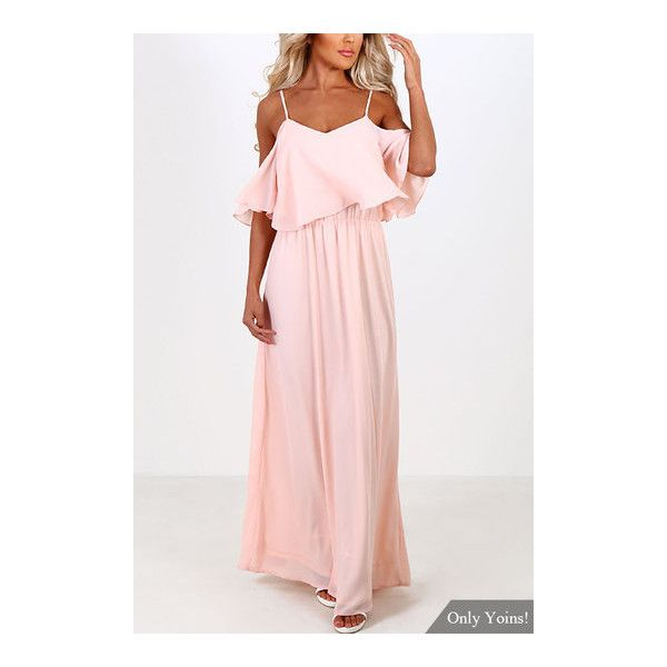 Vestito maxi da chiffon in raso rosa da spalla - US$17.99 -YOINS (31 BAM) ❤ liked on Polyvore featuring off the shoulder dress, off-the-shoulder ruffle dresses, off the shoulder summer dress, off shoulder maxi dress and pink dress