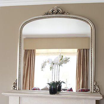 Beaded Edge Overmantle Fireplace Mirror