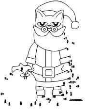 Printable Pete the Cat christmas dot to dot activity available at www.makinglearningfun.com.
