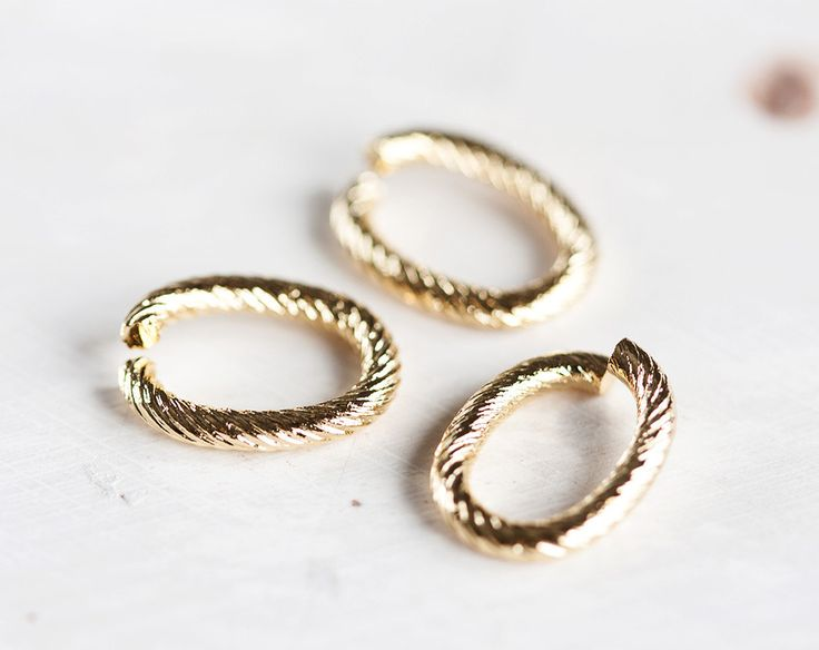 2403_Open twisted jump rings 10x14 mm, Gold connectors, Oval jump rings, Strong jump rings, Brass jump rings, Findings jewelry making_10 pcs by PurrrMurrr on Etsy