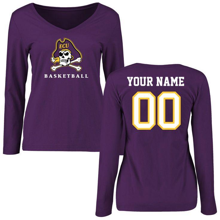 East Carolina Pirates Women's Personalized Basketball Slim Fit Long Sleeve T-Shirt - Purple - $42.99