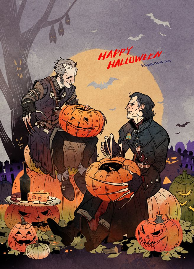 "polapaz321: ""Witcher Vampires on Halloween. Carving pumpkins with best friend"