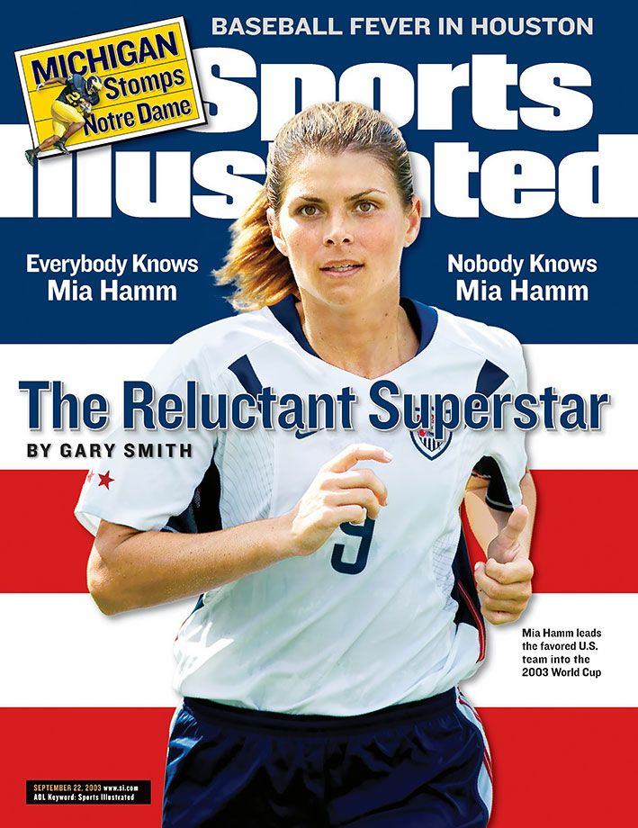 Mia Hamm appears on the cover of the Sept. 22, 2003 issue of Sports Illustrated. The UNC grad won four national championships with the Tar Heels as well as two Olympic gold medals and two World Cup titles. One of the biggest U.S.-born soccer stars of all time, Hamm turned 44 years old on March 17, 2016. (Robert Beck for SI)