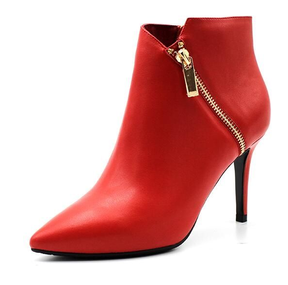 102.88$  Know more - http://ai48j.worlditems.win/all/product.php?id=32790595198 - 2016 Hot sale women thin high heels pointed toe inclined zipper female cow leather red black winter ankle boots