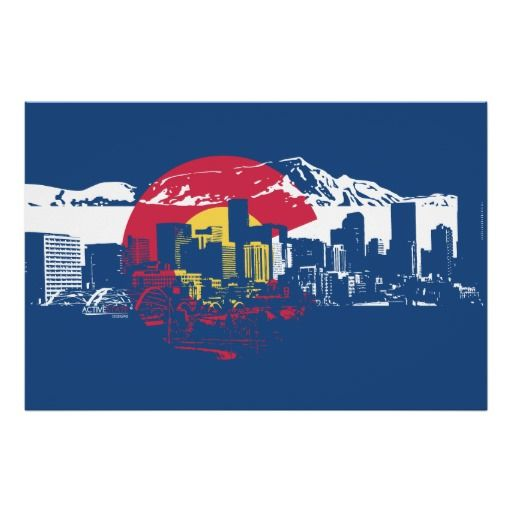 Colorado Flag with Denver Skyline and Rockies Poster -  Closer...still not it, though.