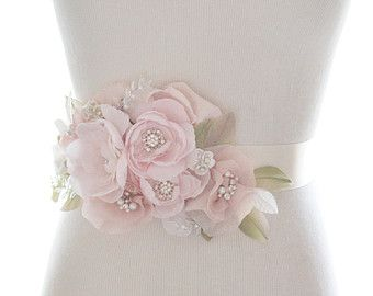 Whimsical crystal flower sash, organza rhinestone belt, bridal belt, rhinestone wedding sash