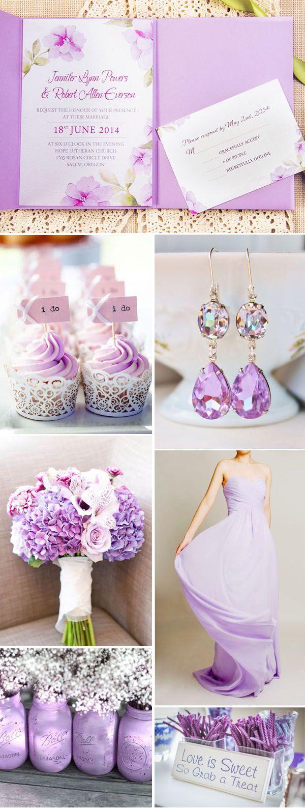 exquisite purple watercolor flower lace pocket wedding invitations