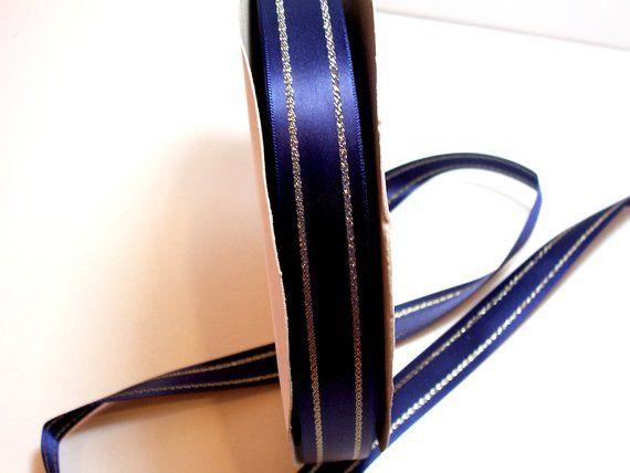 "5 Yards Navy Blue Satin Sheer Edge Ribbon 7//8/""W"