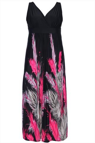 Black And Pink Feather Print Maxi Dress