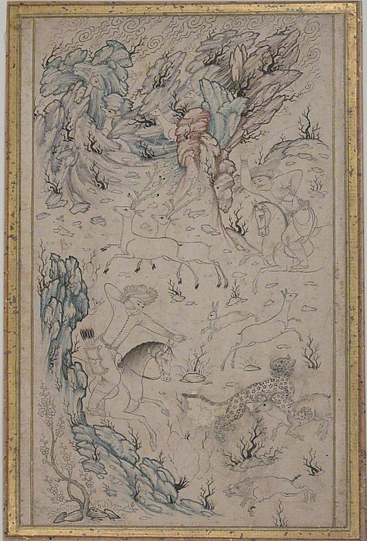 Hunting Scene Date: late 16th century Geography: Iran, Qazvin Medium: Ink and watercolor on paper Dimensions: H. 9 in. (22.9 cm) W. 5 1/4 in. (13.3 cm) Metropolitan Museum of Art 45.174.16