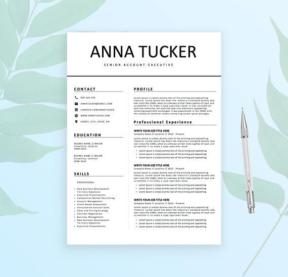 Modern Resume Template  CV Template for Word  Professional