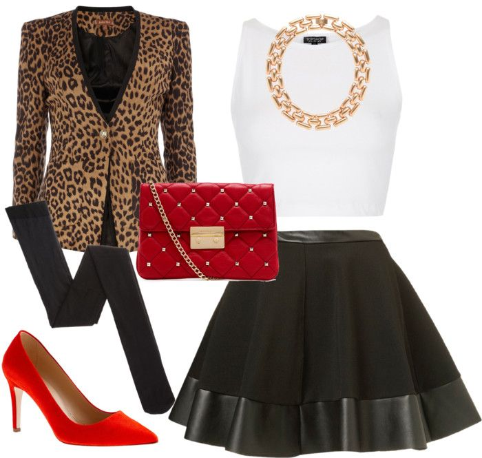 beautiful synergy- leopard jacket, red heels with a black and white outfit.