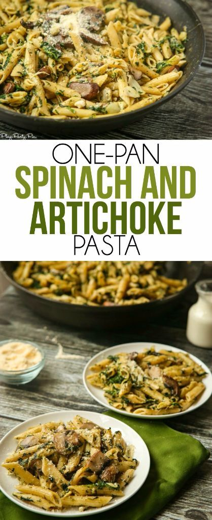 This easy one-pan spinach artichoke pasta recipe looks yummy and delicious! Definitely one to add to my easy pasta recipes list! A great vegetarian recipe too! #OnePanPronto ad