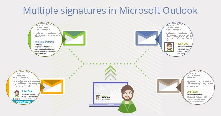 Multiple email signatures in Outlook.