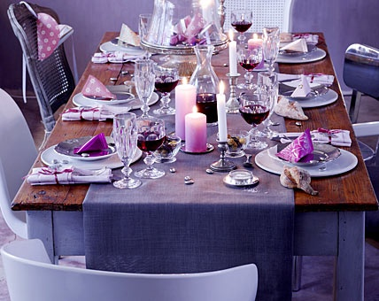 table setting purple