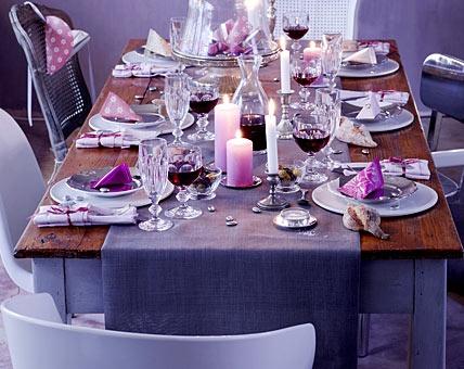 table setting purple