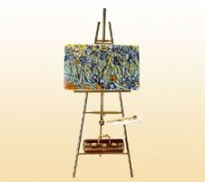 I love these sweet Limoges painting on easels....complete with paint box, brush and pallet