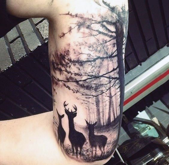 Stylist Black Ink Deer Family In Forest Half Sleeve Tattoo On Male Tattoosforwomensexys