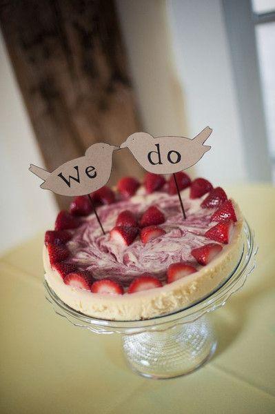 Strawberry Cheesecake Wedding Cake Swirl with Love Birds on Top