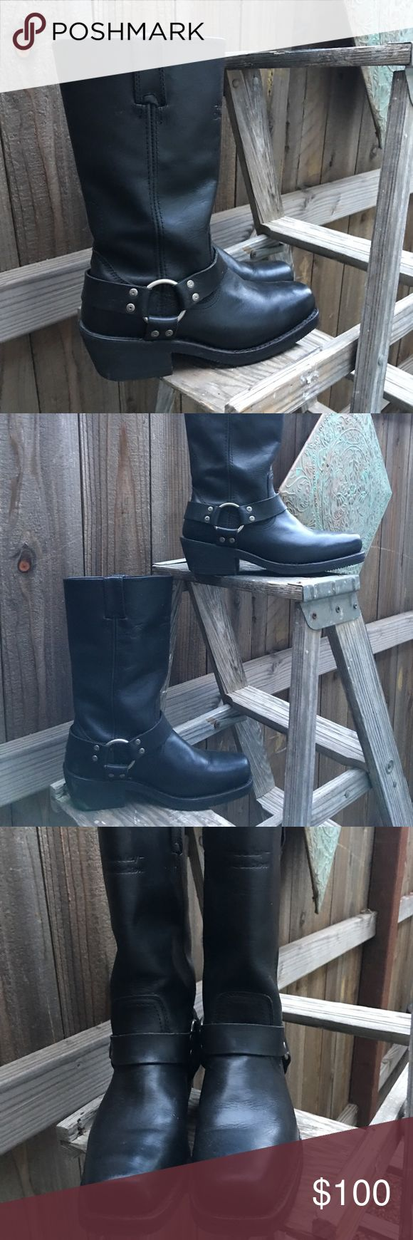 """Harley Davidson 11"""" harness riding boots Fantastic pair of Harley Davidson Hustin black harness riding boots, 11"""" shaft, pull on, square toe,Harley imprint on the front, very little wear. Overall great condition. Sz.8 Harley-Davidson Shoes Combat & Moto Boots #harleydavidsonboots"""