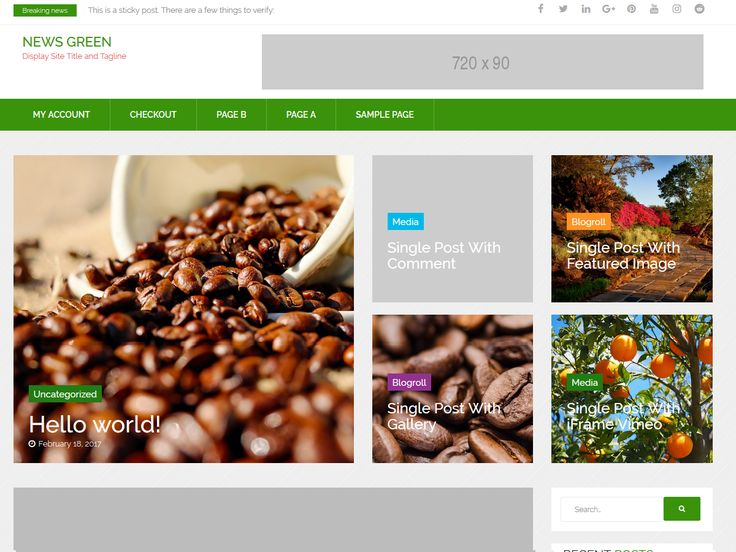 News Green is a modern #WordPress Template was created especially for #Newspaper & Magazine online.  #NewsGreen comes with many features for some popular topics like: sport, fashion, technology, travel, video section? The News template is excellent for a news, magazine, publishing or review site.