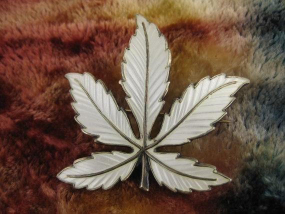 Vintage Norwegian Sterling Silver Enamel Leaf Brooch Pin