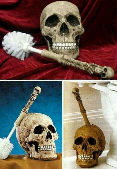 skull head toilet brush set for my davidu0027s man cave bathroom