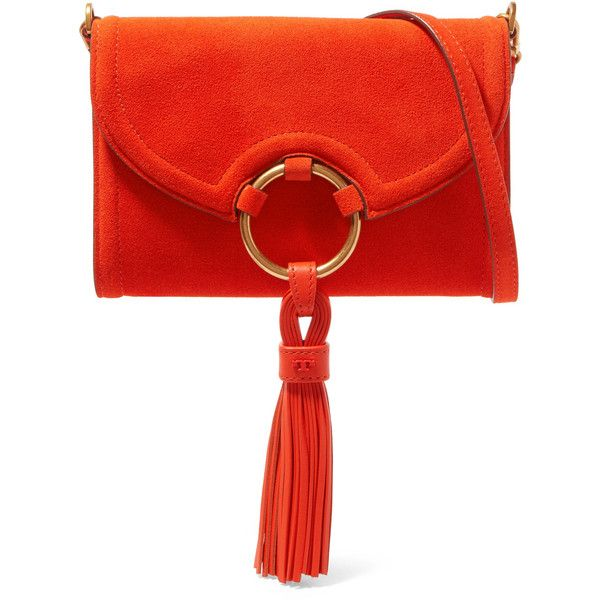 Tory Burch Suede shoulder bag ($260) ❤ liked on Polyvore featuring bags, handbags, shoulder bags, orange, red suede purse, zip purse, zipper shoulder bag, zip shoulder bag and orange handbags
