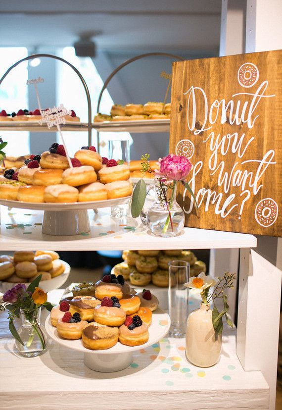 Doughnut bar for Crate and Barrel registry event. Event design by The Shift Creative. Calligraphy by Lovely Paper Things. Doughnuts by Donut Snob. Flowers by Emblem Flowers. Photo Scott Clark Photo (via 100 Layer Cake).