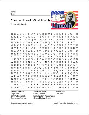 13 Abe Lincoln Games and Activities for President's Day: Abraham Lincoln Wordsearch