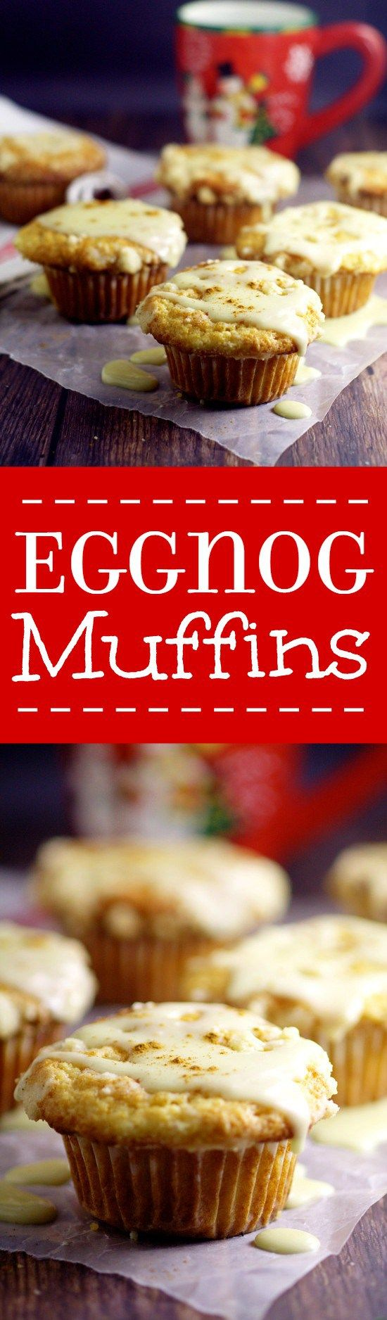 Eggnog Muffins recipe with real eggnog to give them a rich, moist texture and flavor with a crunchy streusel topping and a to-die-for eggnog glaze. Perfect recipe for a Christmas morning breakfast!