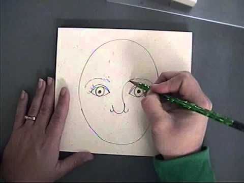 teaching Kgd how to draw a self portrait by MiniMatisse.blogspot.com. I think this would be a great sub lesson.