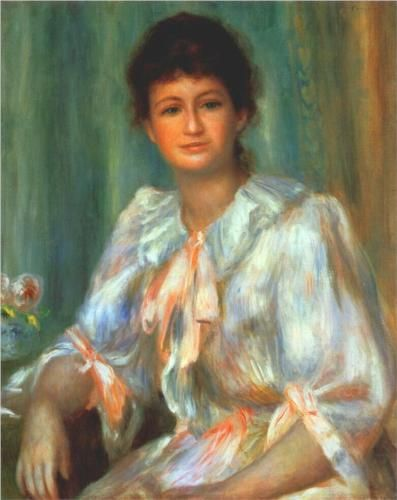 Portrait of a young woman in white - Pierre-Auguste Renoir