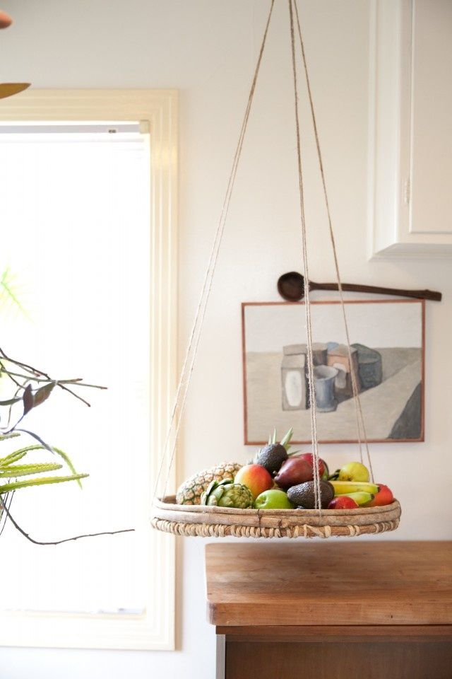 Saving counter space with a hanging fruit basket