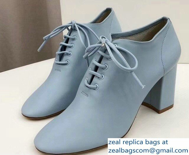 d7083ce55a13 Celine Heel 7.5cm Soft Dance Lace-Up Loafers In Nappa Lambskin Baby Blue  2018