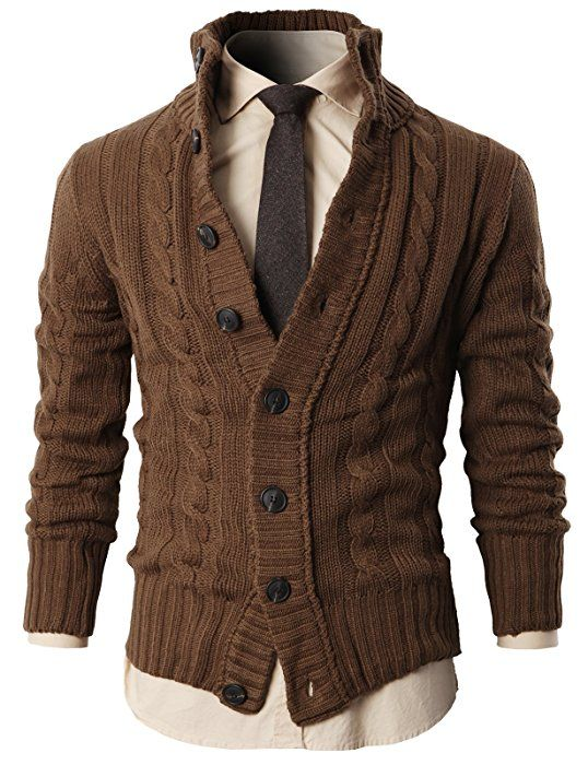 H2H Mens High Neck Twisted Knit Cardigan Sweater With Button Details BEIGE US 2XL/Asia 3XL (KMOCAL020)