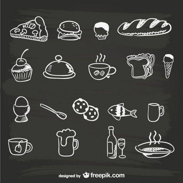 Desenhados à mão menu de comida gráficos Vetor grátis                                                                                                                                                                                 Mais