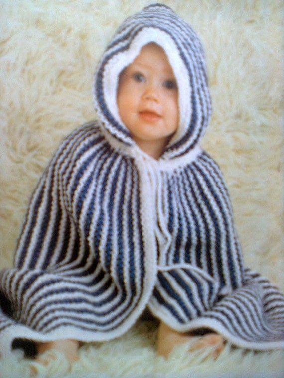 """tutoriel de tricot """"un poncho-burnous moelleux vintage"""" pour le bébé"""