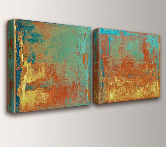 "Canvas Paintings - Mint Green - Teal - Orange - Yellow - Art - Canvas Prints - Expressionist Wall Art - Modern Art - Wall Art Set - "" Cabo """