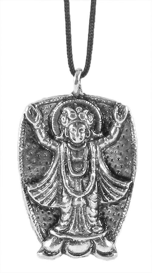 Chaitanyadev Pendant with Black Cord (Metal)