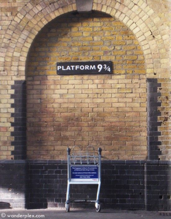 Visit Platform 9¾. Also for Potter fans is this film location at Kings Cross Station, where young witches and wizards must go to board their train to Hogwarts. Platform 9¾ – which is complete with a stuck-in-the-wall luggage cart – is not actually located between platforms 9 and 10, but off to one side of the station