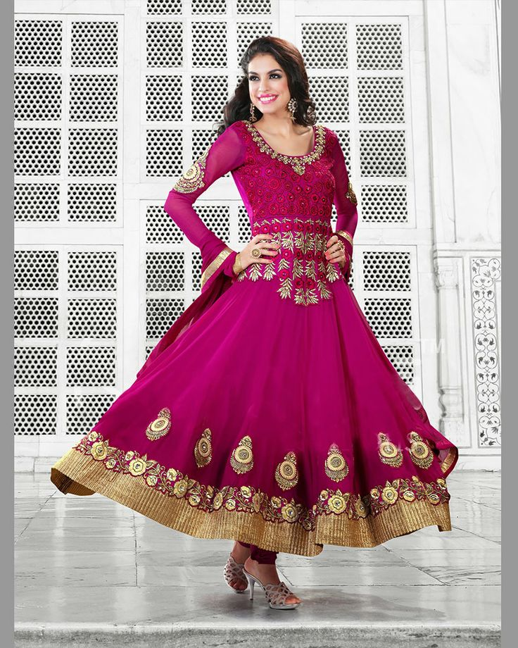 We Are To Breathe Life Into Your Aspirations & To Make A Mark In The World Of Style. Be Your Own Style Icon With Captivating Magenta Chiffon & Faux Georgette Salwar Kameez. The Ethnic Floral Patch, Patch Work, Resham & Stones Work On The Attire Adds A Sign Of Beauty Statement To Your Look.