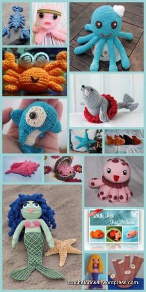 15 free patterns for sea creatures mermaid, crab, octopus dolphin etc