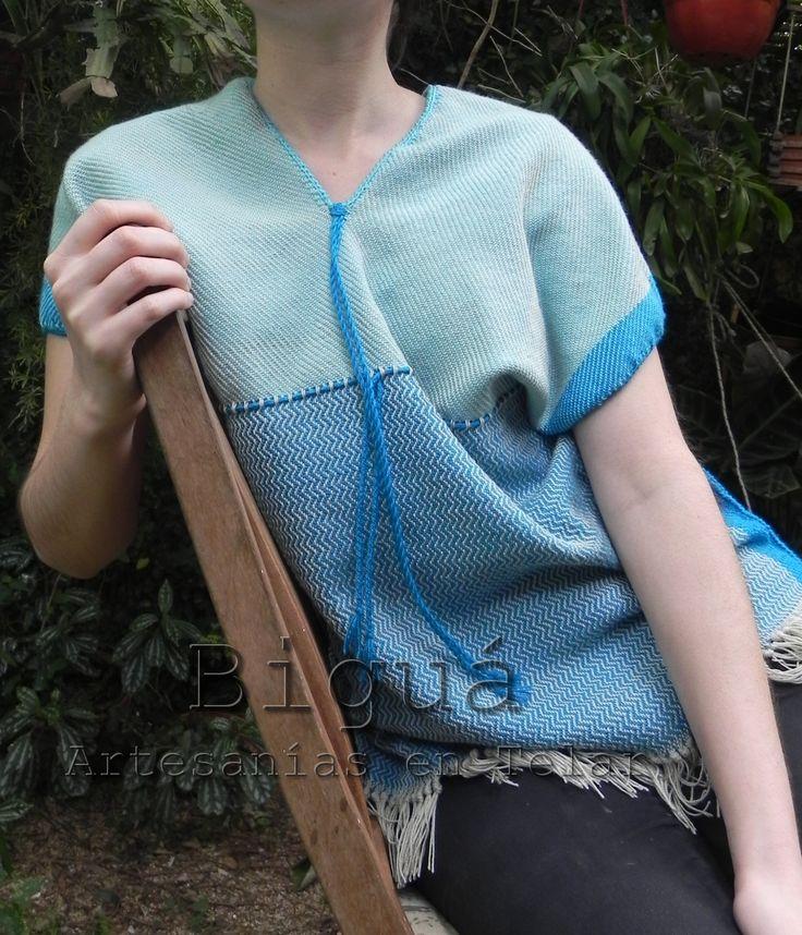 Remera en hilo de algodón tejida a #telar