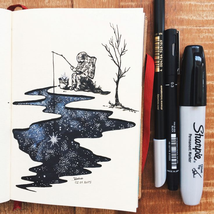 Fishing dreams. Illustrated by Kari Galvao. #art #ink #drawing #sketch…