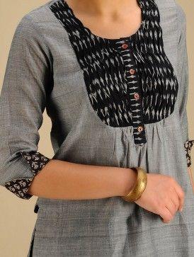 Grey-Black Ikat Yoke Block Printed Cotton Tunic