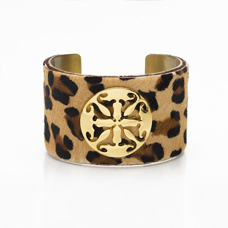 "Calfskin Tan Leopard 1.5"" Gold with Gold Logo"