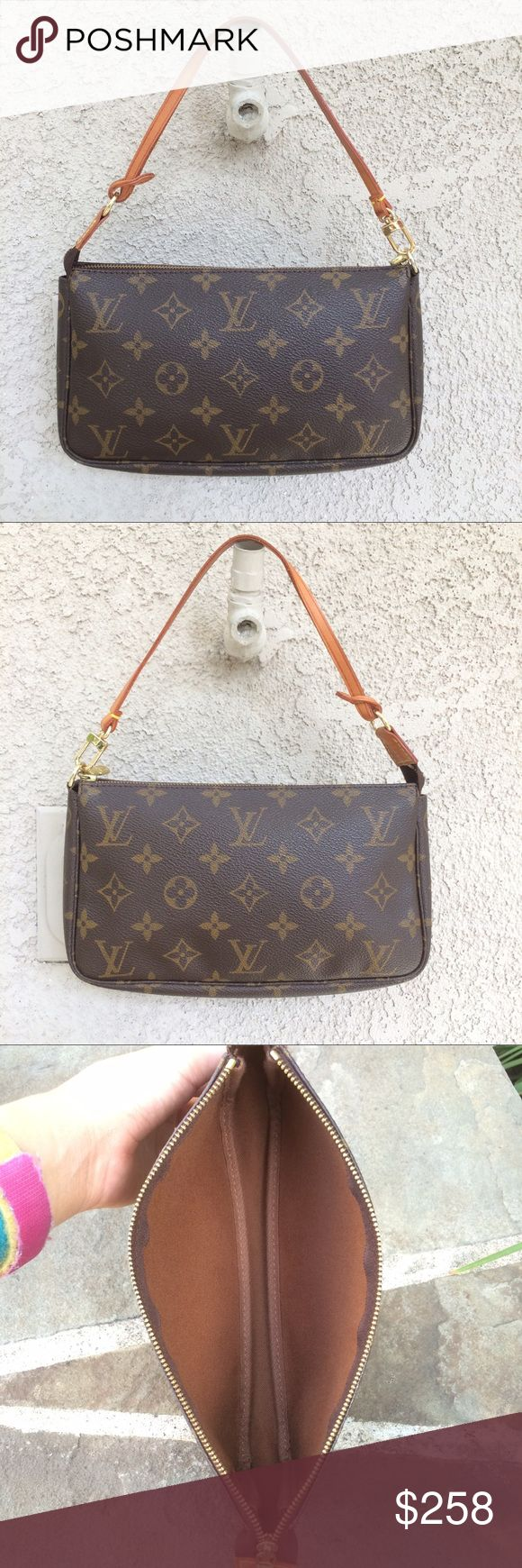 Auth. Louis Vuitton Monogram Accessories Pochette Auth. Louis Vuitton Mono. Accs. Pochette. Excellent pre-owned condition. The inside is very clean & has NO stains at all, & no odor. The canvas is in excellent condition w/NO stains, cracks or rips at all. The stitching & piping is all intact. The piping has NO cracks or stains at all. The strap has a minor mark on it. On some parts of the strap the glue has kind of un-glued, but it's not noticeable at all. The D-ring has no rips or cracks…