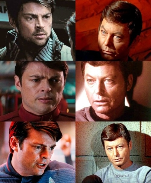 """Dr. Leonard """"Bones"""" McCoy  Leonard Nimoy: """"When Karl Urban introduced himself as Leonard McCoy and shook hands with Chris Pine [as Captain Kirk], I burst into tears. I thought that performance of his would be so moving, so touching, so powerful, as Dr. McCoy that I think [DeForest Kelley] would be smiling, and maybe in tears as well."""""""