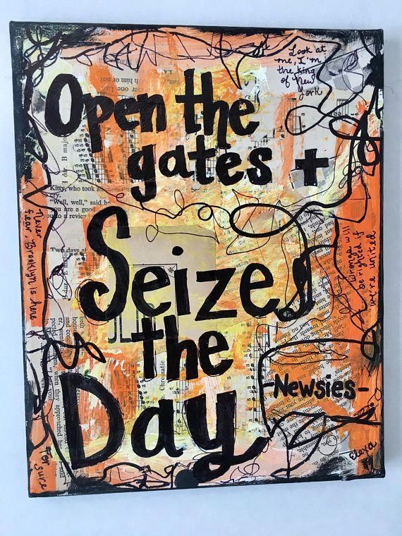 Newsies Lyrics Sieze The Day Music Art Broadway Musical Etsy Newsies Broadway Musicals Music Art Painting